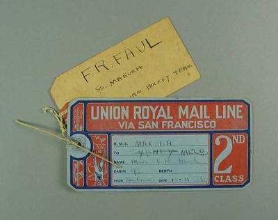 Luggage tag, Union Royal Mail Line 1936