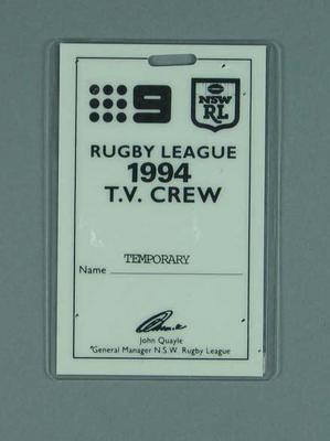 Television crew pass, 1994 State of Origin match at MCG
