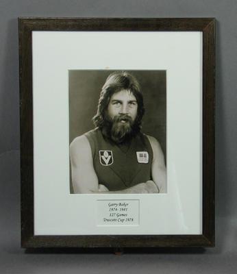 Photograph of Garry Baker, Truscott Cup 1978; Photography; Framed; M15090