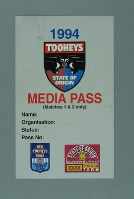 Media pass, 1994 State of Origin - Matches 1 & 2