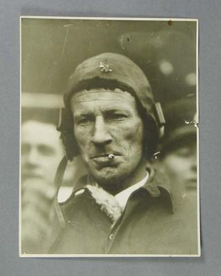 Photograph of Charles Kingsford-Smith in flying cap, c1929