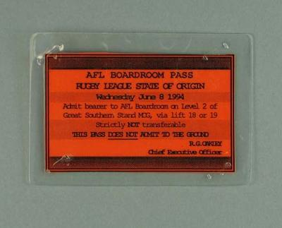 Pass for AFL Boardroom during Rugby League State of Origin at MCG, 8 Jun 1994