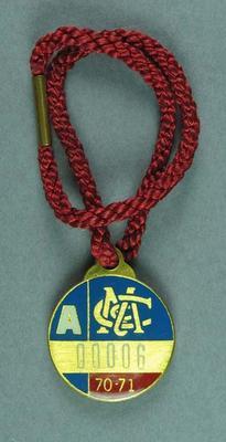 1970-71 MCC membership medallion, issued to Sir Robert Menzies