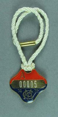 1974-75 MCC membership medallion, issued to Sir Robert Menzies
