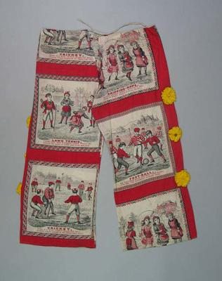 Cotton pantaloons, printed with images of sports and decorated with yellow rosettes