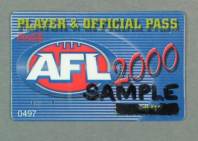 Sample Player & Official Pass, AFL 2000 Season