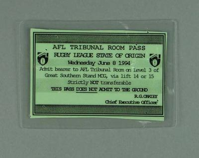 Pass for AFL Tribunal Room during Rugby League State of Origin at MCG, 8 Jun 1994