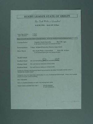 Running sheet for Rugby League State of Origin match at MCG, 8 Jun 1994