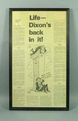 Framed newspaper article with cartoon - 'Life - Dixon's Back In It'