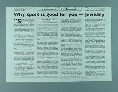 "Newspaper clipping, ""Why Sport is Good for you - Jewishly"" 31 Aug 1990"