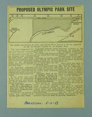 Newspaper clipping regarding proposed site of Olympic Park, Adelaide 6 June 1953