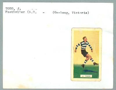 Trade card featuring Jack Todd, Hoadley's Chocolates 1934