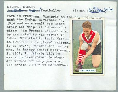 Trade card featuring Sydney Dineen, Allens c1930s