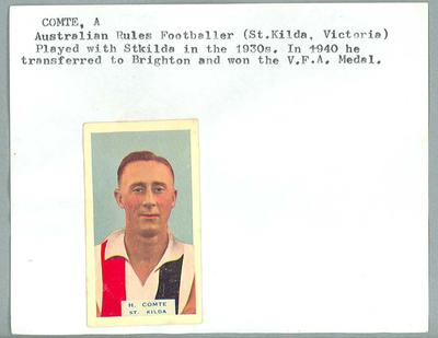 Trade card featuring Harold Comte, BDV Cigarettes 1933