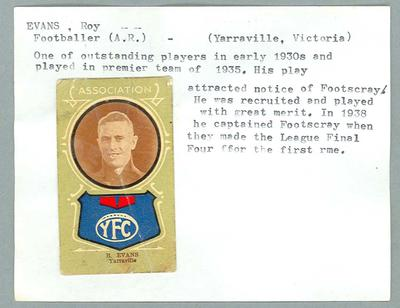 Trade card featuring Roy Evans c190s