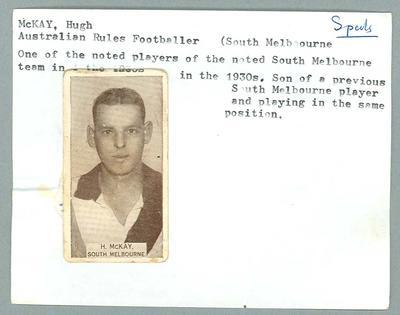 Trade card featuring Hugh McKay, Wills Cigarettes 1933