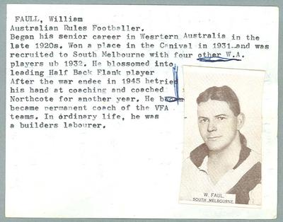 Trade card featuring William Faul, Wills Cigarettes 1933