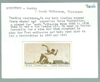 Trade card featuring Austin Robertson c1930s; Documents and books; 1987.1801.131