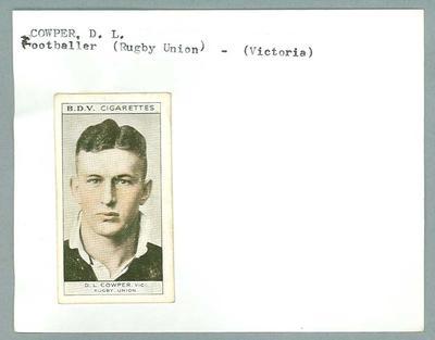Trade card featuring Denis Cowper c1930s