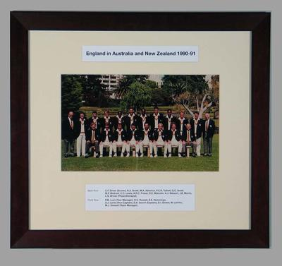 Photograph of England cricket team in Australia & New Zealand, 1990-91; Photography; Framed; M15289