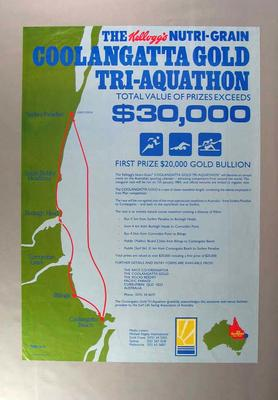 Poster advertising Coolangatta Gold Tri-aquathon, 1984