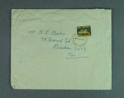 Envelope addressed to Mr. R. L. Bates from Eric Gibaud, stamped 22 June 1987; Documents and books; 1987.1805.43