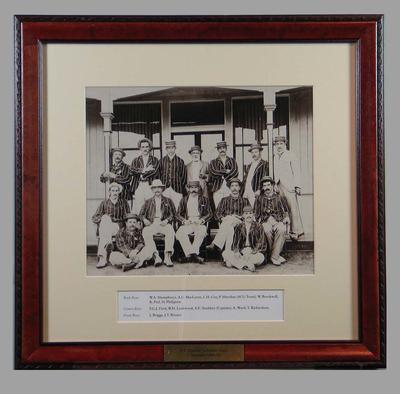 Photograph of A.E. Stoddart's English cricket team in Australia, 1894-95; Photography; Framed; M15292