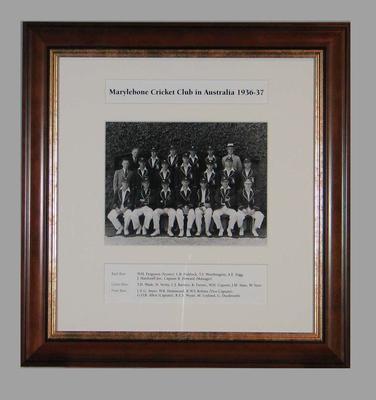 Photograph of Marylebone Cricket Club in Australia, 1936-37; Photography; Framed; M15293