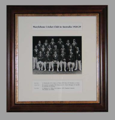Photograph of Marylebone Cricket Club in Australia, 1928-29; Photography; Framed; M15294