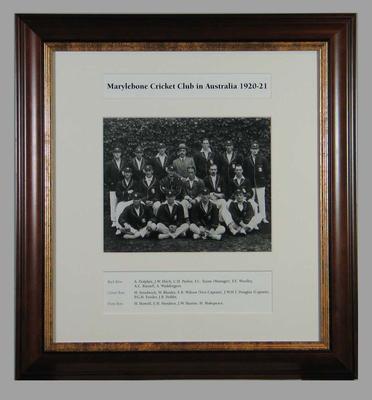 Photograph of Marylebone Cricket Club in Australia, 1920-21; Photography; Framed; M15295