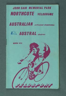 Cycle racing programme. Australian Professional Championships,  March 1975, blue cover.