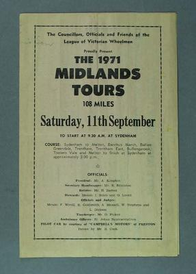 Cycle racing programme. The 1971 Midlands Tours, Sydenham. 11September 1971