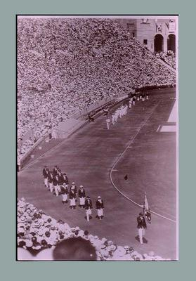Negative of Australian team marching in 1932 Olympic Games Opening Ceremony