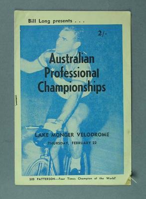 Cycle racing programme. The Australian Professional Championships, Lake Monger Velodrome, 22 February 1962.