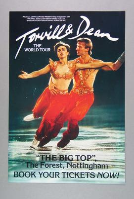 Poster advertising Torvill & Dean World Tour, c1980s