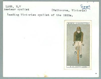Trade card featuring RW Lamb c1930s