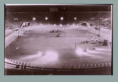 Negative of 1932 Olympic Games wooden cycling track, at the Rose Bowl, Pasadena