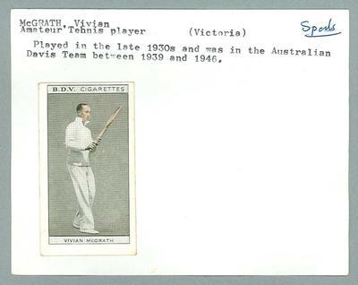 Trade card featuring Vivian McGrath c1930s