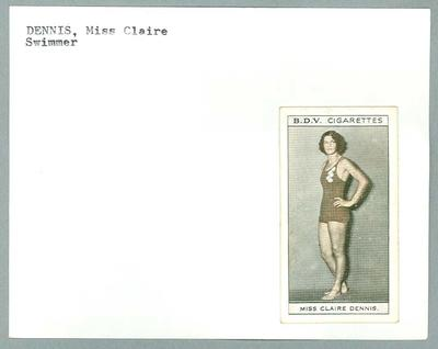 Trade card featuring Claire Dennis c1930s