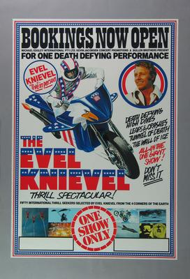 Poster advertising Evel Knievel Thrill Spectacular, c1980s