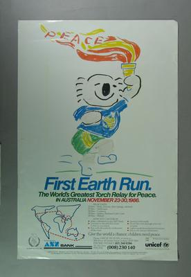 Poster, UNICEF First Earth Run - International Year of Peace 1986