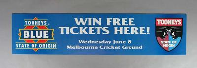 Poster advertising ticket competition for Tooheys State of Origin match, MCG 1994