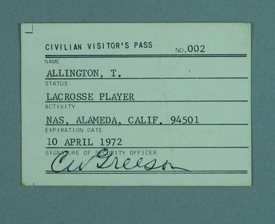 Civilian visitor's pass, issued to Terry Allington