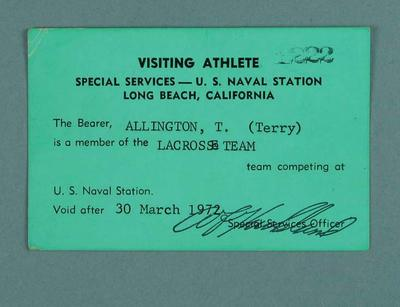 US Naval Station visiting athlete pass, issued to Terry Allington