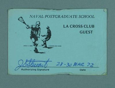 Naval Postgraduate School guest pass, issued to Terry Allington