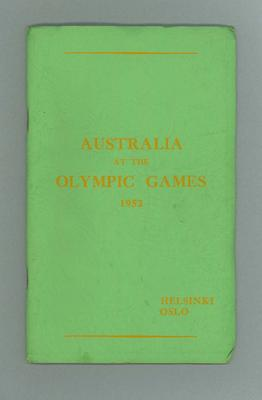 """Official report, """"Australia at the Olympic Games 1952"""""""
