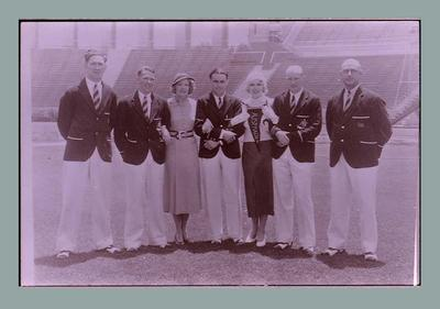 Negative of several Australian 1932 Olympic Games team members and coaches, in main stadium