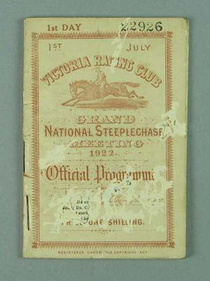Programme for Victoria Racing Club's Grand National Steeplechase Meeting, 1 July 1922