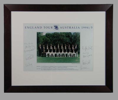 Photograph of England cricket team in Australia, 1994-95