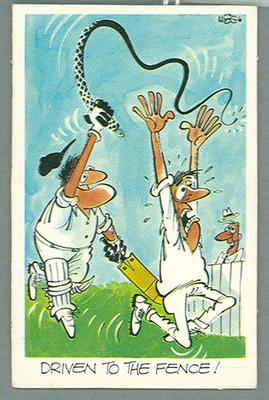 1972 Sunicrust Cricket - Comedy Cricket, Driven to the Fence trade card